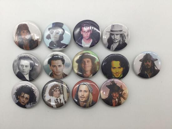 Collection of 13 Johnny Depp button pins, fan badges of famous Hollywood actor in various roles.