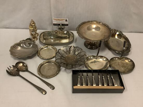 14 pieces of silver plate tableware. Sheridan, Neco, Lovelace, and more.