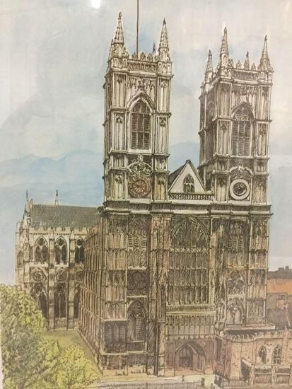 Framed print of original B. Smith Notre-Dame artwork, approx. 17x14x2 inches.