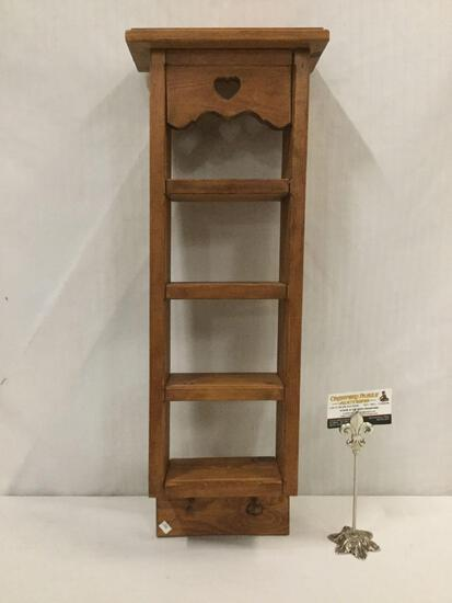 4-tiered wooden wall hanging shelf w/ coat hooks & heart design, approx. 26x8x5 inches.