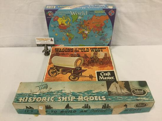 Vintage Craft Master - Wagons of the Old West wooden model kit, plus model kit & map puzzle.