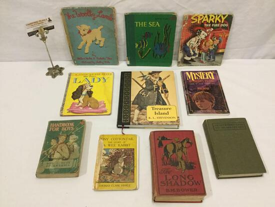 Collection of vintage books: childrens stories, Intro to Shakespeare, Boy Scouts Handbook and more
