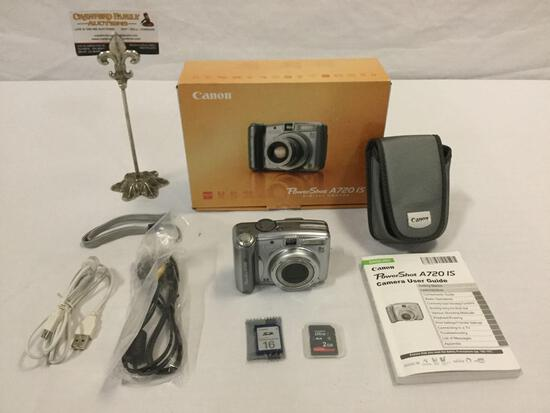 CANON Power Shot A720IS Digital Camera w/ box/manual/cords/case