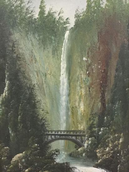 Antique hand painted oil on board in rustic frame depicting PNW waterfall/bridge scene - unsigned