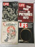 Vintage magazine lot: three 70s Life magazines, and one 1928 Colliers weekly.