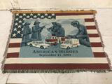 9/11 memorial tapestry w/ wood hanging bar and coat peg/hooks - 69x52