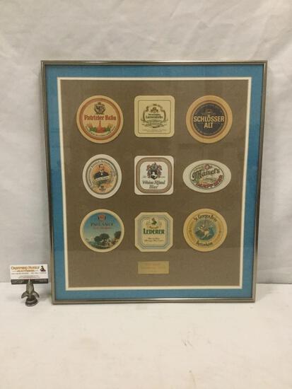 Framed German beer coaster collection, Bierhalle Nurnburg 1995