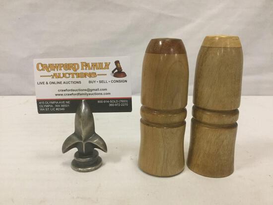 Vintage handmade wooden salt and pepper shakers