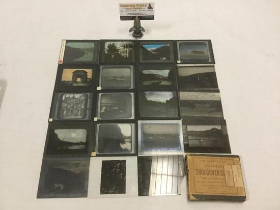 Collection of 19 vintage glass magic lantern slides depicting architectural & landscape scenes