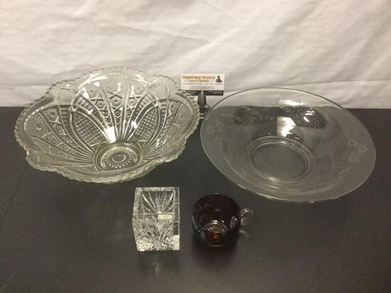 Collection of glass & crystal pieces, Waterford box, red tea cup, & pair of bowls