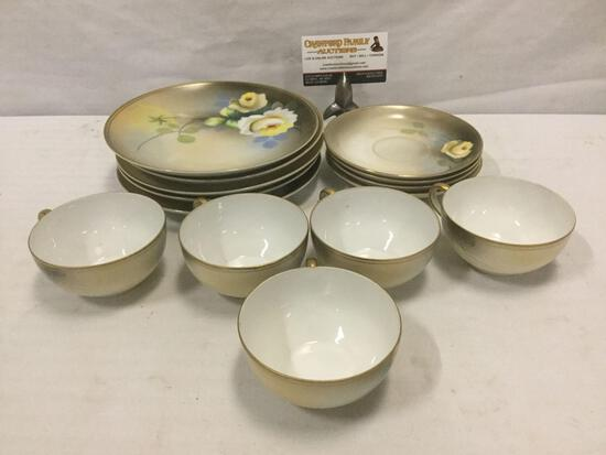 Collection of 5 cups, 3 saucers, & 5 small plates of hand painted Japanese metro China