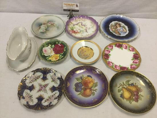 9 vintage china plates & 1 gravy boat from maker incl; Royal Albert, Mitterteich, and more