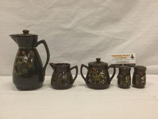 5 pc. Vintage tea set w/ rooster in hat & bowtie design, made in Japan: creamer, sugar bowl, shakers