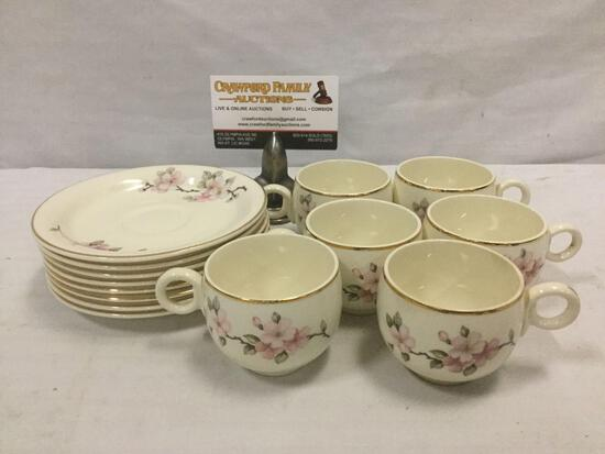 HOMER LAUGHLIN Eggshell pattern cup & saucer set of 8 plates, 6 cups