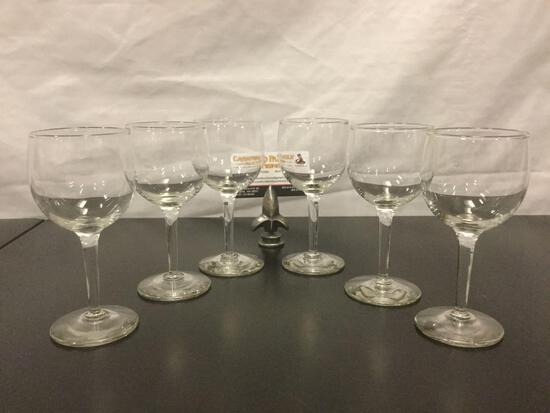 Collection of six crystal wine glasses, approx. 2.5 x 6 inches.