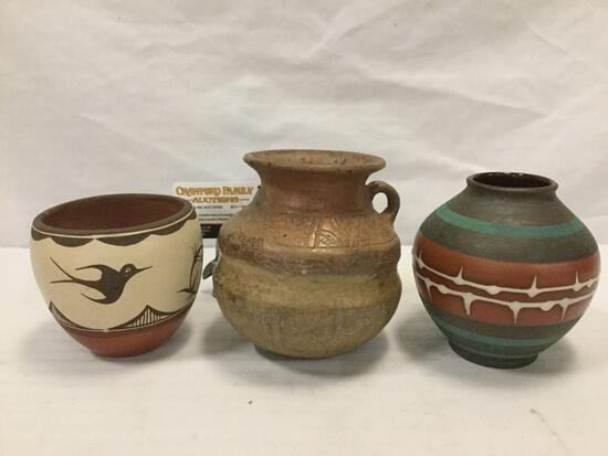 3 handmade ceramic pot/vases, including 1 Acoma(?) vase, 1 marked West Germany