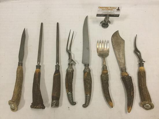 6 antique bone handle carving knives, serving forks & blade sharpeners; Wostenholm&Sons etc. see pic