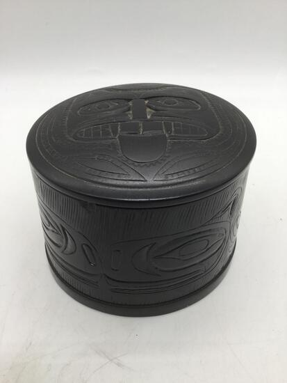 Pearlite Stonecraft dish w/ lid, incised Native American totem animal designs, made in Canada