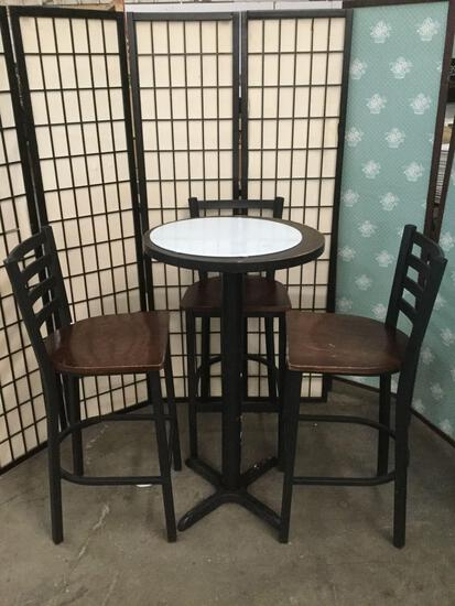 Bar table with unattached glass top, & 3 bar chairs.