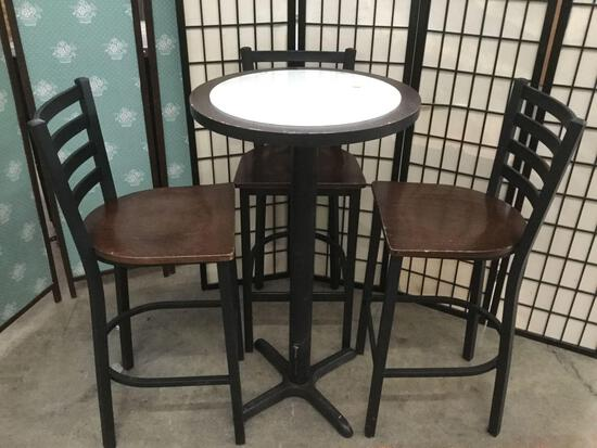 Bar table with unattached glass top, and bar chairs.