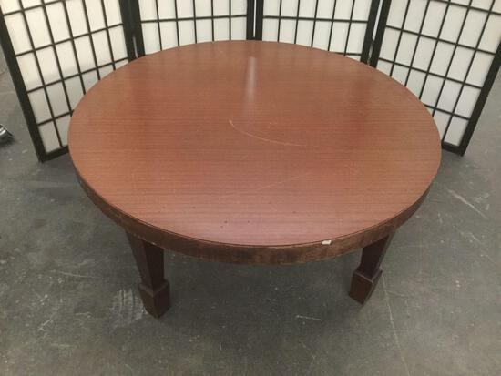 Round vintage wood coffee table