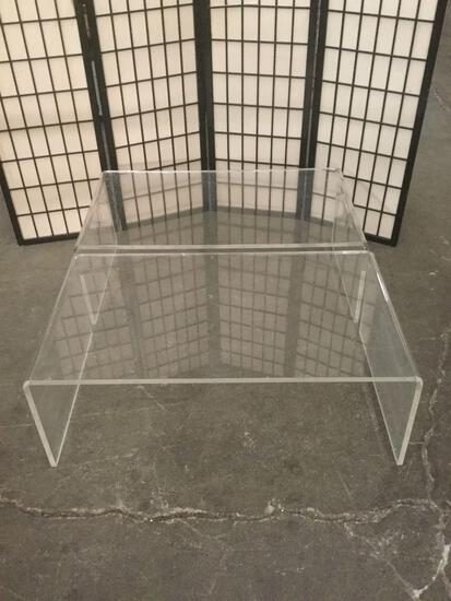 Pair of clear acrylic coffee tables