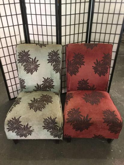 Pair of upholstered bar chairs, each shows wear.