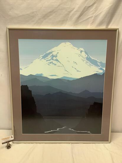 Large framed graphic mountain print, sold as is.