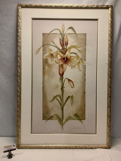 Large framed print by Liz Jardine - Trumpet Lilies I