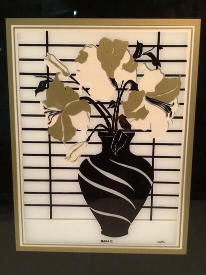 Framed reverse glass painting of flower vase, Deco II by Lantz