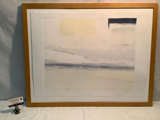 Framed monotype art print, Chinook by Sean Vale, 1997