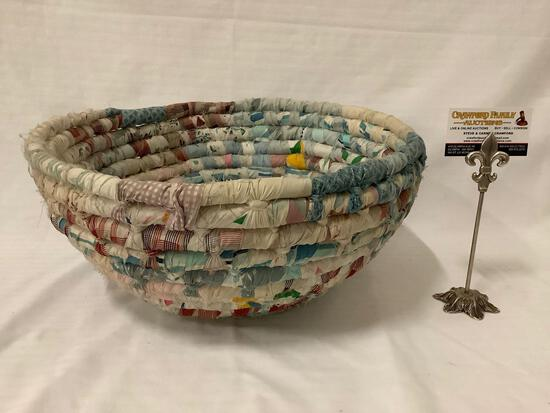 Woven quilt wrapped basket / bowl, approx 16x7 inches