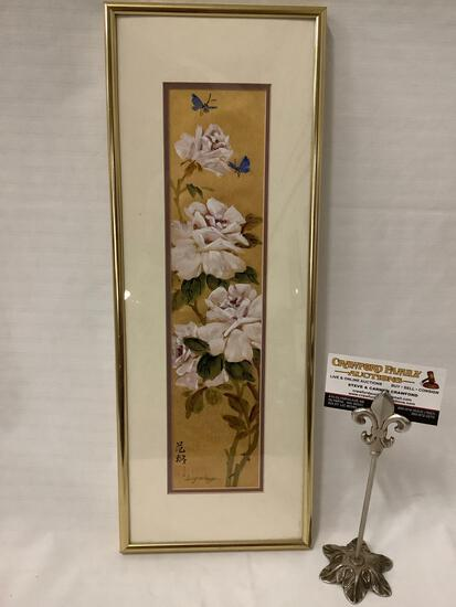 Framed original Asian floral and butterfly artwork signed by artist Lucy Wang