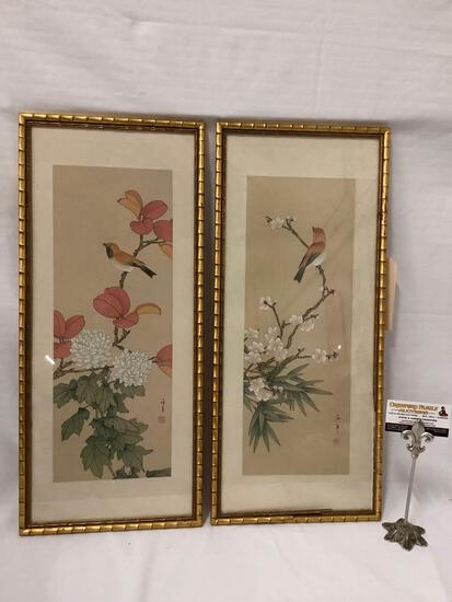 Pair of framed Asian bird artworks, signed by artist, see pics