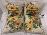 4 indoor outdoor sunflower design knife edge pillows by Climaweave