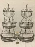 Lot of 2 matching metal wire three-tier basket style display racks