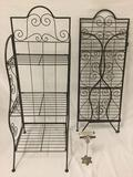 Pair of matching collapsible 3-tier metal wire display / towel racks