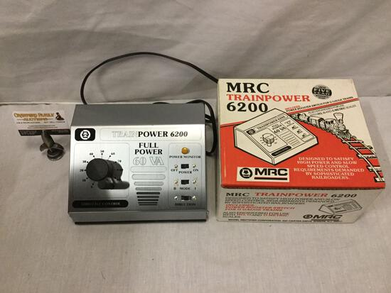MRC Trainpower 6200 model train transformer with original box. Powers on.