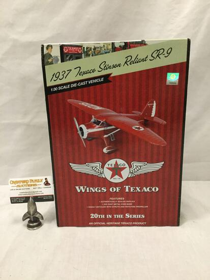 Texaco Wings of Texaco series 1:30 Scale Die Cast model airplane. 1937 Texaco Stinson Reliant SR-9.