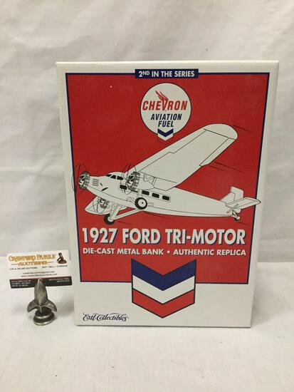 ERTL Chevron Aviation Fuel diecast model airplane bank. Second in series. 1927 Ford Trimotor. In box