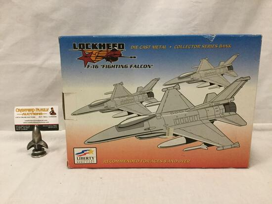 Liberty Classics Lockheed F-16 Fighting Falcon jet die cast metal collectors series bank. In box.