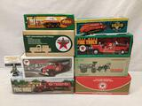 Collection of 8 ERTL Texaco die cast metal model car banks in original boxes