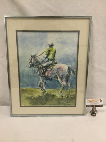 "Polo Player #3 watercolor print in professional frame signed by artist ""Wolff"" (?)"