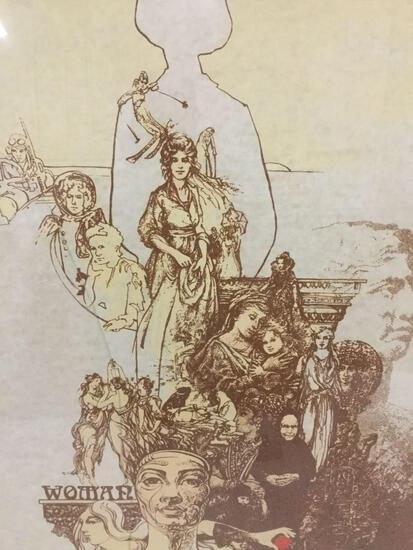 "Antique style ""Woman"" print depicting years of iconic and powerful women - signed by artist"