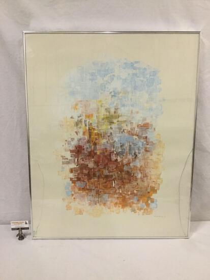 Stunning large abstract print by Suresh Pitamber 1978 - gorgeous color - cracked glass see pics