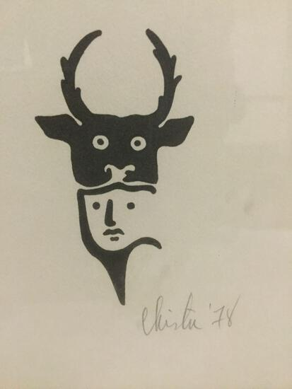 Chintu 1978 clean minimalist abstract print depicting a hunter / man and beast