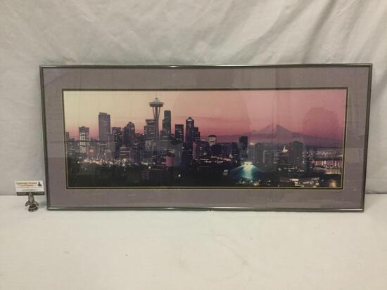 Ron Keiller signed professional Seattle skyline photograph in frame
