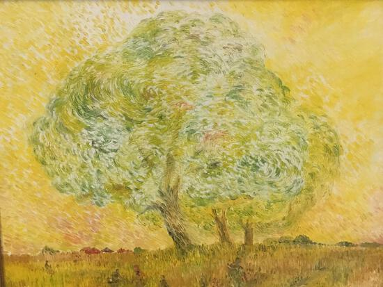 "1975 Suresh Pitamber original oil on canvas ""The Impression"" - solitary tree impressionistic"