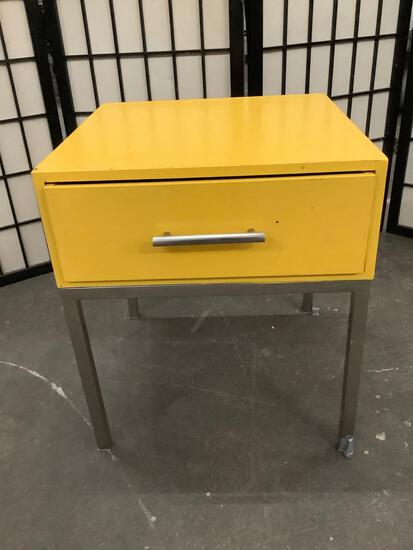 Steel leg wooden end table w/ one drawer, painted yellow