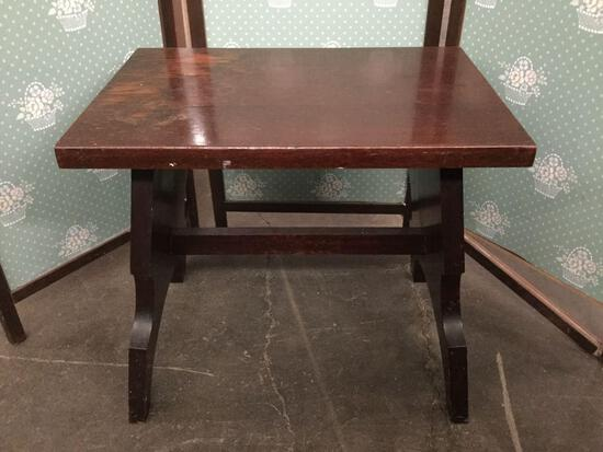 Vintage mahogany wood stool, shows wear from age, see pics.